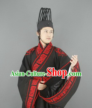 Ancient Chinese Han Dynasty Nobleman Costumes and Hat