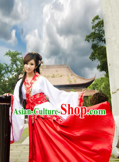Ancient Chinese Red and White Hanfu Dance Costume for Women