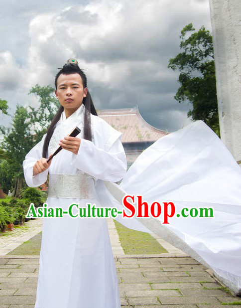 Ancient Chinese White Hanfu Costumes for Men