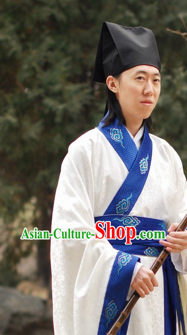 Han Dynasty Embroidered Cloud White Clothes for Men