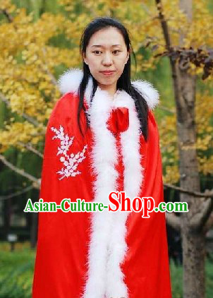 Ancient Chinese Red Winter Plum Blossom Cape