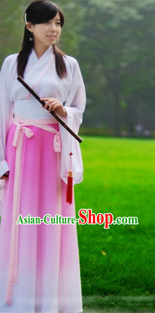 Ancient Chinese Han Fu Color Transition Clothes for Lady