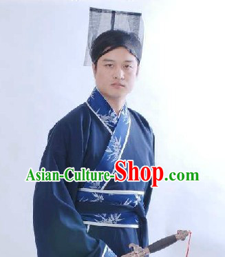 Ancient Chinese Hanfu Clothing and Hat for Men