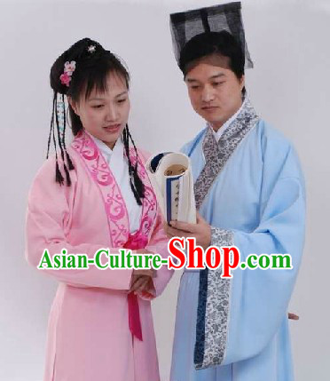 Ancient Chinese Husband and Wife Clothes Two Sets