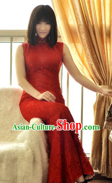 Supreme Classical Red Lace Fish Tail Wedding Cheongsam for Women