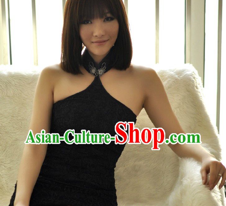 Supreme Black Lace Short Cheongsam for Women