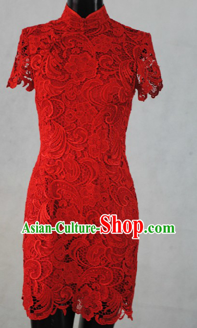 Supreme Red Lace Short Wedding Cheongsam for Women