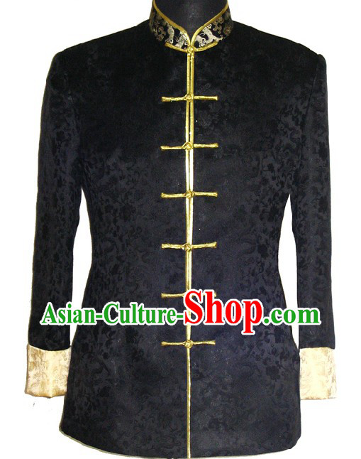 Supreme Black Silk Brocade Dragon Ceremonial Dress