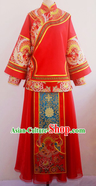 Traditional Chinese Lucky Red Phoenix Wedding Suit for Lady