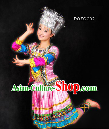 Traditional Chinese Dong Minority Dance Clothes and Hat for Women