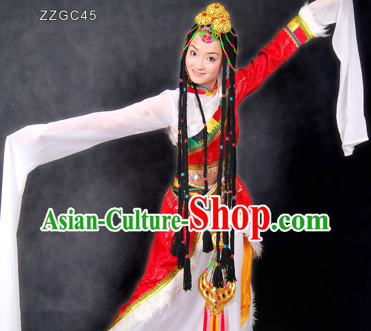 Traditional Chinese Tibetan Dance Costumes and Head Pieces for Women
