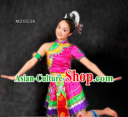 Traditional Chinese Miao Dance Costumes and Head Pieces for Women