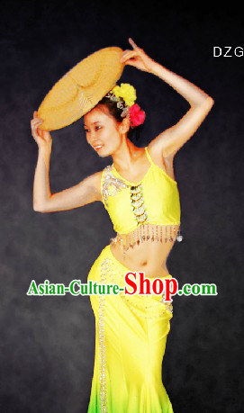 Traditional Chinese Dai Ethnic Dance Costumes and Head Pieces for Women
