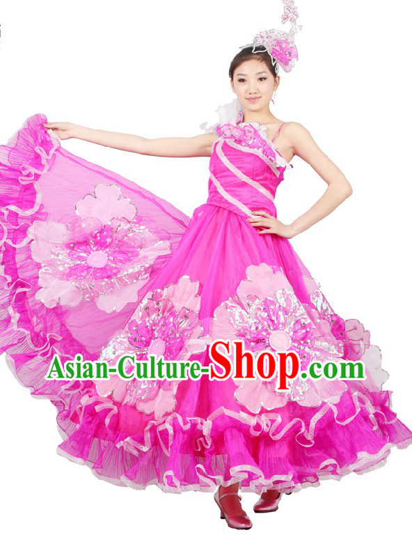 Chinese Stage Performance Accompany Dance Costume and Head Pieces for Women