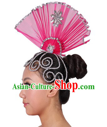 Chinese Stage Performance Fan Shape Head Piece