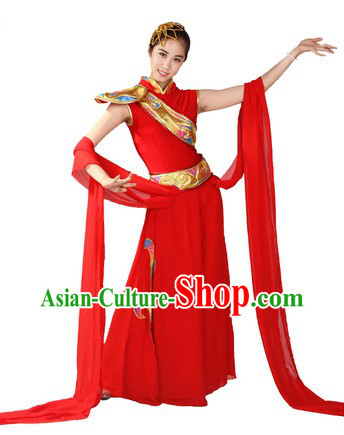 Chinese Classical Red Dance Costume and Head Piece for Women