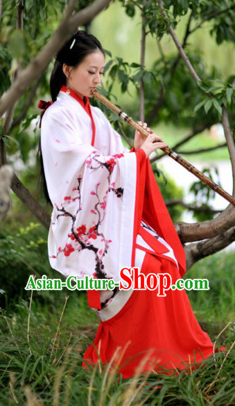 Traditional Pure Silk Plum Blossom Han Costumes for Women