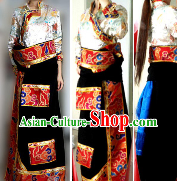 Traditional Chinese Tibetan Clothing Complete Set for Women