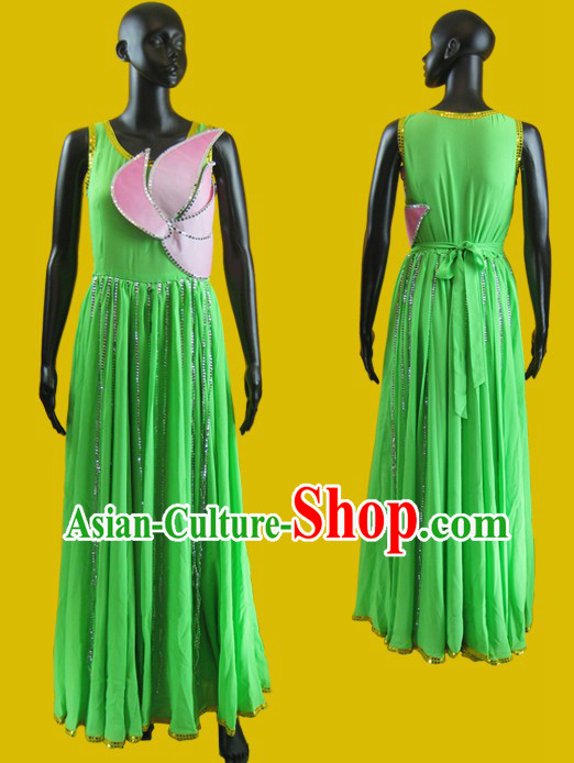 Green Chinese Lotus Dance Costumes for Women