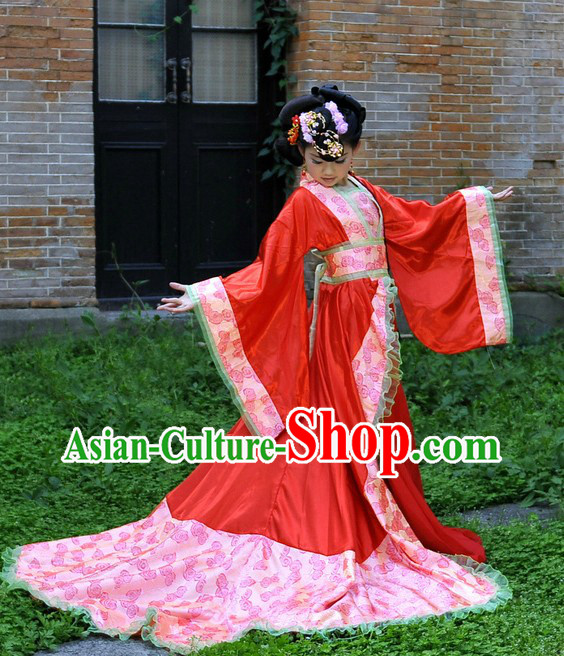 Ancient Chinese Empress Costumes and Headpiece for Children