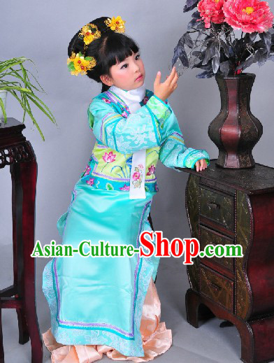 Qing Dynasty Princess Costumes and Headpiece for Girls