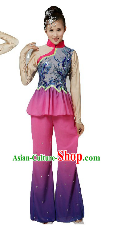 Chinese Classical Fan Dance Costumes and Headpiece