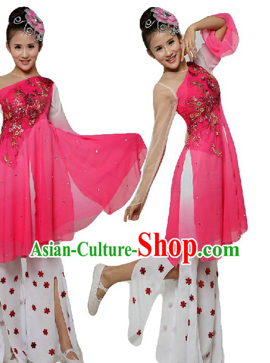 Chinese Classical Stage Performance Dance Costumes and Headpiece