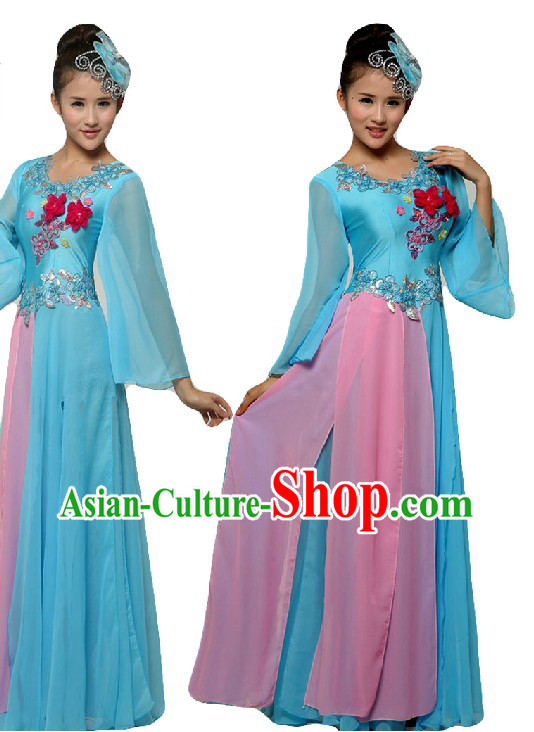 Chinese Classic Stage Performance Chorus Singing Group Dance Costumes and Headpiece