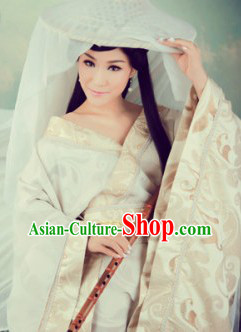 Ancient Chinese Female Swordsman White Costumes and Hat