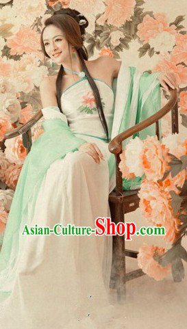Ancient Chinese Light Green Sexy Costume for Women