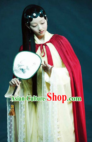 Ancient Chinese Stage Performance Red Mantle Clark for Women