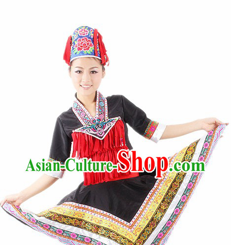 Traditional Chinese Ethnic Costumes and Hat for Women