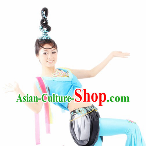 Traditional Chinese Palace Dance Costumes and Headwear for Women