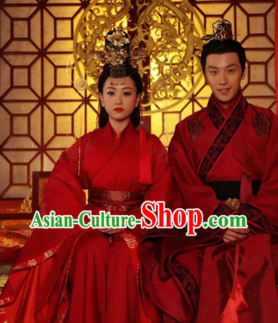 Traditional Chinese Red Wedding Outfit for Men and Women