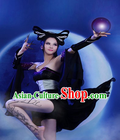 Black Halloween Chinese Fairy Costumes and Wig