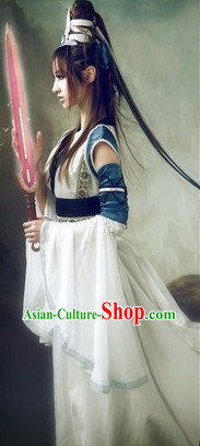 Ancient Chinese Swordwoman Costume and Headpiece for Women