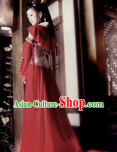 Ancient Chinese Red Wedding Marriage Outfit for Brides