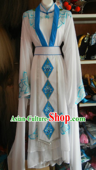 Ancient Chinese Embroided Lotus Nun Outfit for Women