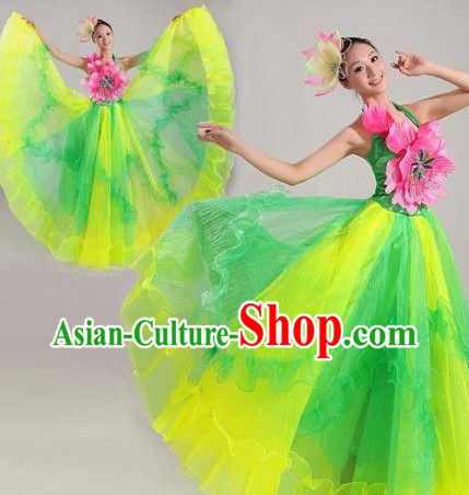 Traditional Chinese Stage Performance Dancing Costume and Headwear for Women