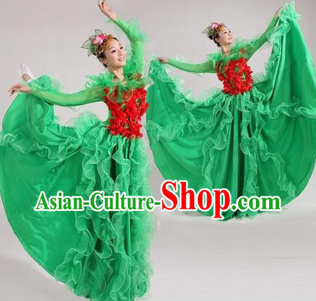 Chinese Stage Performance Modern Dance Costume and Headwear for Women