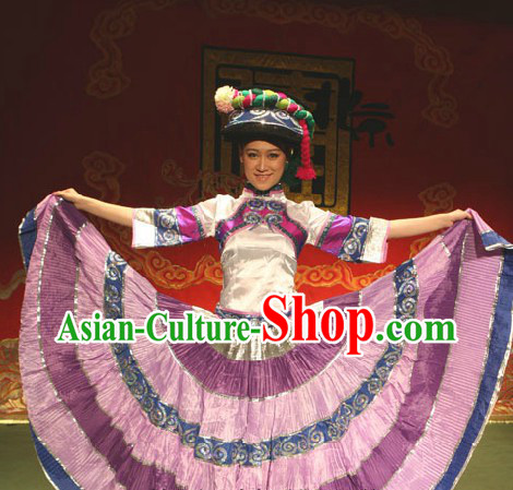 Traditional Chinese Torch Festival Yi Minority Clothing and Hat for Women