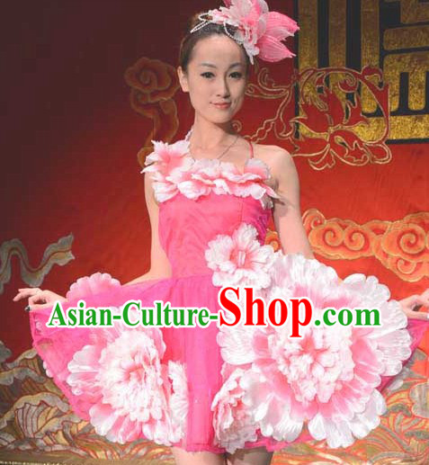Traditional Chinese Flower Dance Costume and Headwear for Women