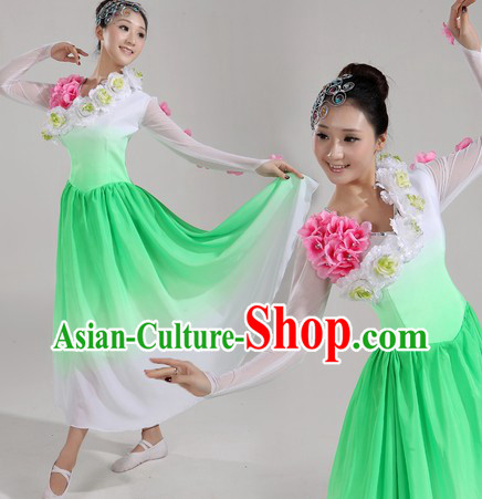 Chinese Stage Performance Modern Dance Costumes and Headwear for Women