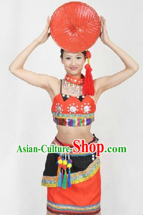 Traditional Chinese Dai Dance Costumes and Hat for Women