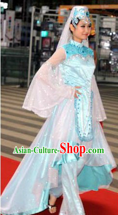 Traditional Chinese Hui Minority Dance Costumes and Hat for Women