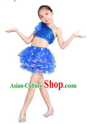 Blue Jazz Dance Costumes for Kids
