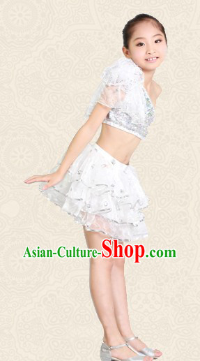 White Jazz Dancing Costume for Kids