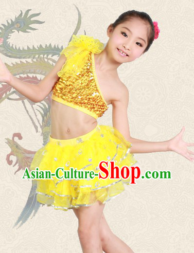 Yellow Jazz Dance Costumes for Kids