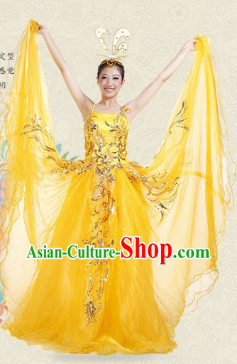 Traditional Stage Performance Dance Costumes and Headwear for Women