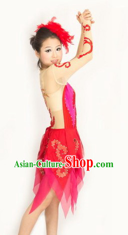 Traditional Chinese Red Phoenix Pattern Modern Dance Costumes and Headwear for Women